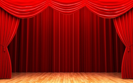 Red velvet curtain opening scene Stock Photo - 11247792