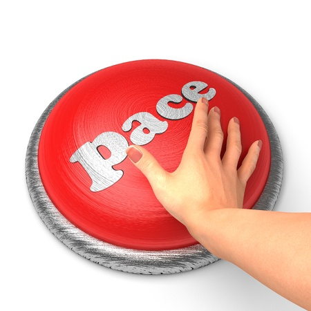 pace: Hand pushing the button