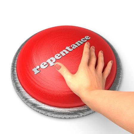 arrepentimiento: Mano empujando el botón Foto de archivo