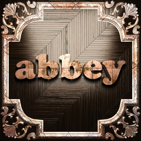 abbey: word with classic ornament made in 3D Stock Photo