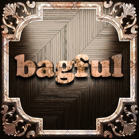 bagful: word with classic ornament made in 3D Stock Photo