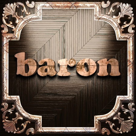 baron: word with classic ornament made in 3D Stock Photo