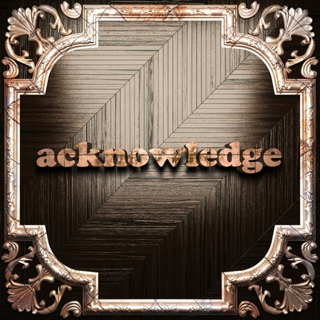 acknowledge: word with classic ornament made in 3D Stock Photo