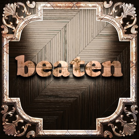 beaten: word with classic ornament made in 3D Stock Photo
