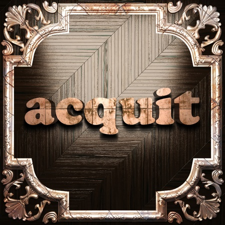 acquit: word with classic ornament made in 3D Stock Photo
