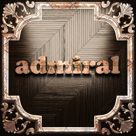 admiral: word with classic ornament made in 3D Stock Photo
