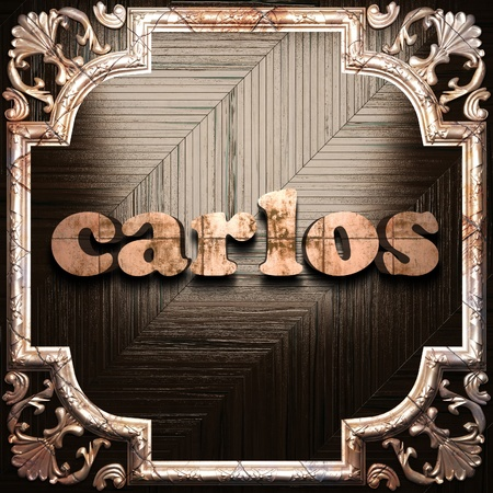 carlos: word with classic ornament made in 3D Stock Photo