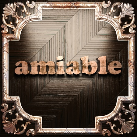 amiable: word with classic ornament made in 3D Stock Photo