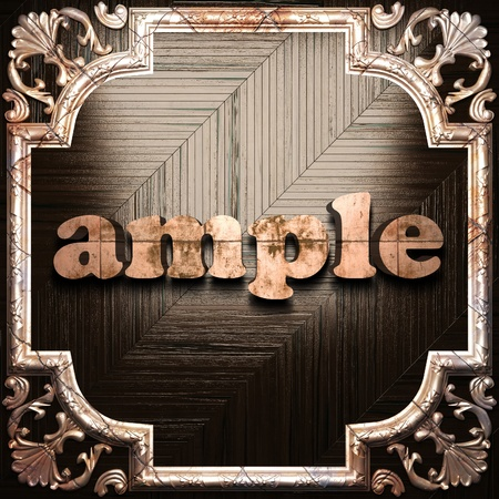 ample: word with classic ornament made in 3D Stock Photo