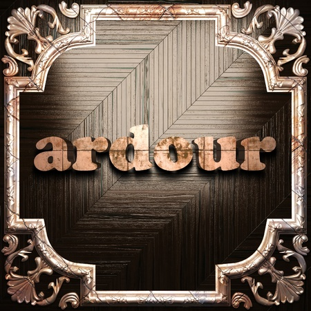 ardour: word with classic ornament made in 3D Stock Photo