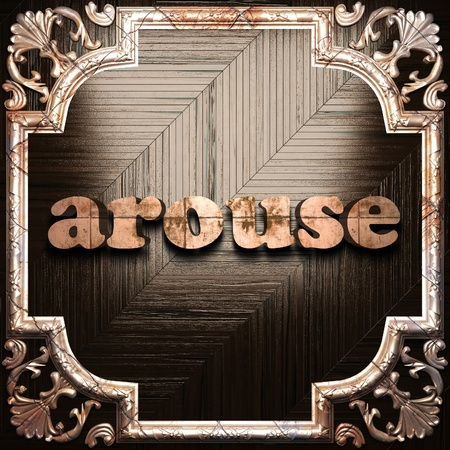 arouse: word with classic ornament made in 3D Stock Photo
