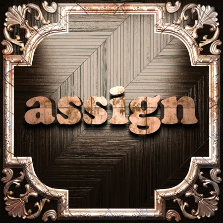 assign: word with classic ornament made in 3D Stock Photo
