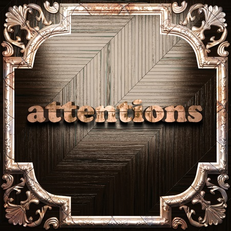 attentions: word with classic ornament made in 3D Stock Photo