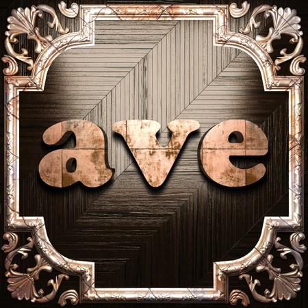 ave: word with classic ornament made in 3D Stock Photo