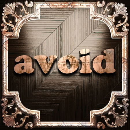 avoid: word with classic ornament made in 3D Stock Photo