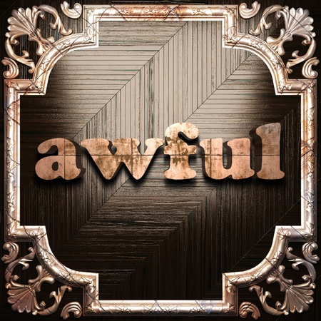 awful: word with classic ornament made in 3D Stock Photo