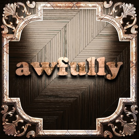 awfully: word with classic ornament made in 3D Stock Photo