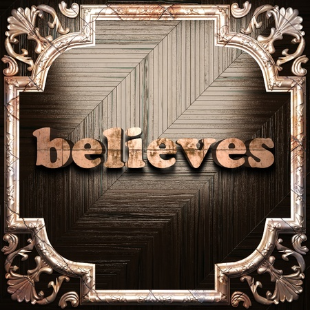 believes: word with classic ornament made in 3D Stock Photo