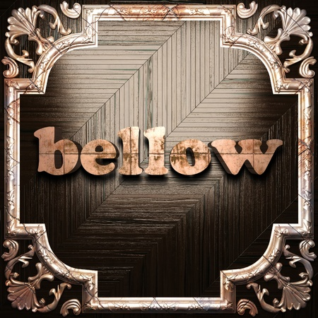 bellow: word with classic ornament made in 3D Stock Photo