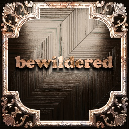 bewildered: word with classic ornament made in 3D Stock Photo