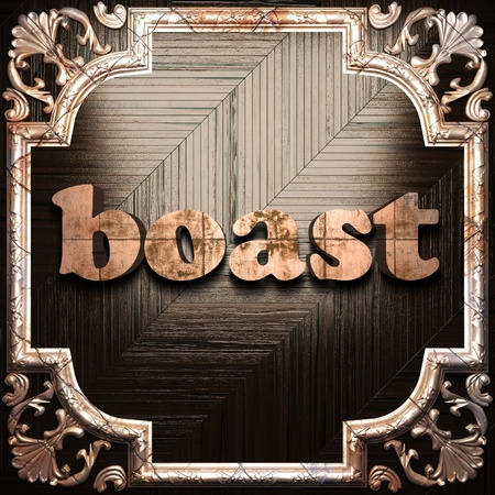 boast: word with classic ornament made in 3D Stock Photo