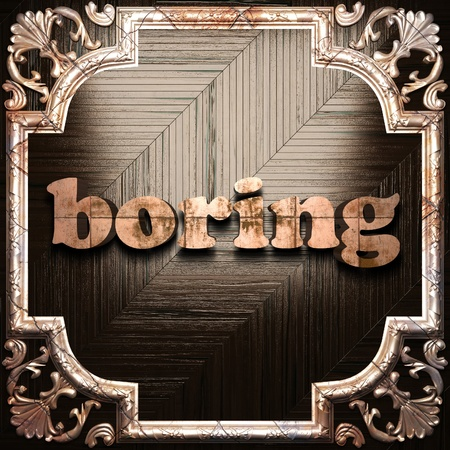 boring frame: word with classic ornament made in 3D Stock Photo