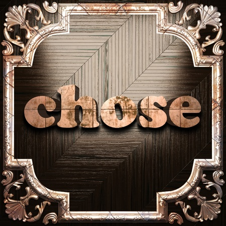 chose: word with classic ornament made in 3D Stock Photo