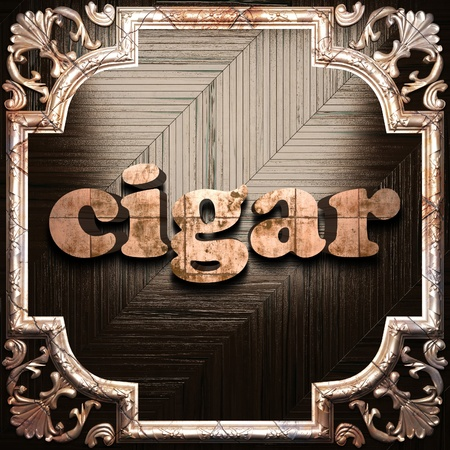 vintage cigar: word with classic ornament made in 3D Stock Photo