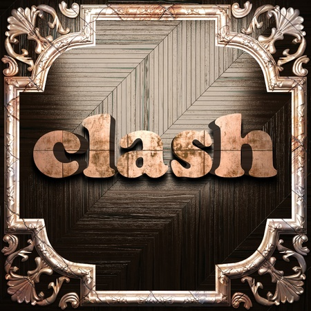 clash: word with classic ornament made in 3D Stock Photo