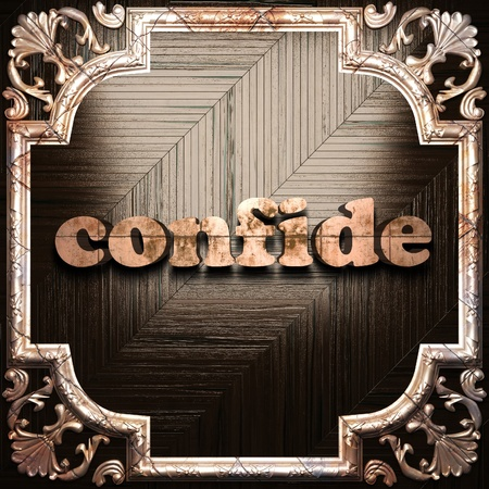 confide: word with classic ornament made in 3D Stock Photo