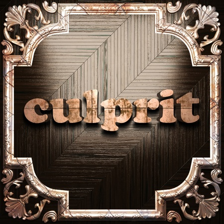 culprit: word with classic ornament made in 3D Stock Photo