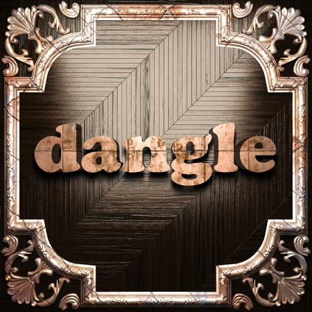 dangle: word with classic ornament made in 3D Stock Photo