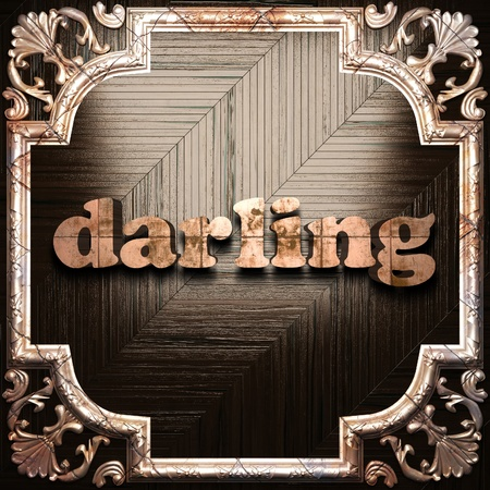 darling: word with classic ornament made in 3D Stock Photo