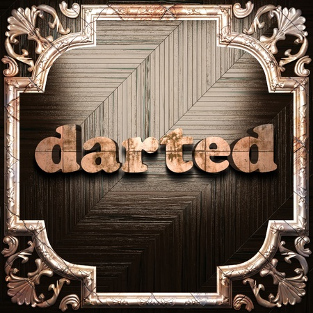 darted: word with classic ornament made in 3D Stock Photo