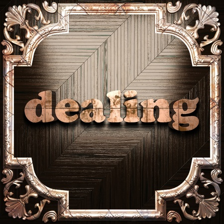 dealing: word with classic ornament made in 3D Stock Photo