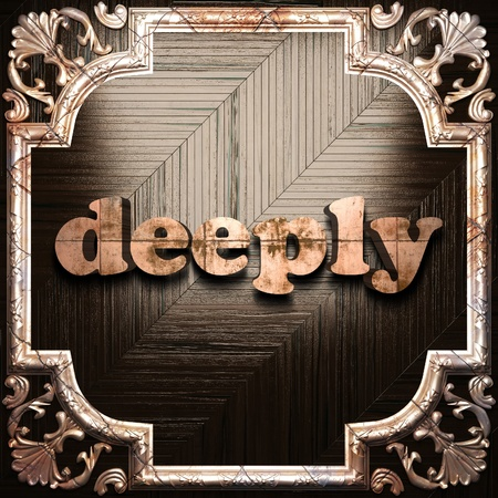 deeply: word with classic ornament made in 3D Stock Photo