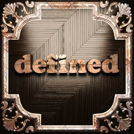 defined: word with classic ornament made in 3D Stock Photo