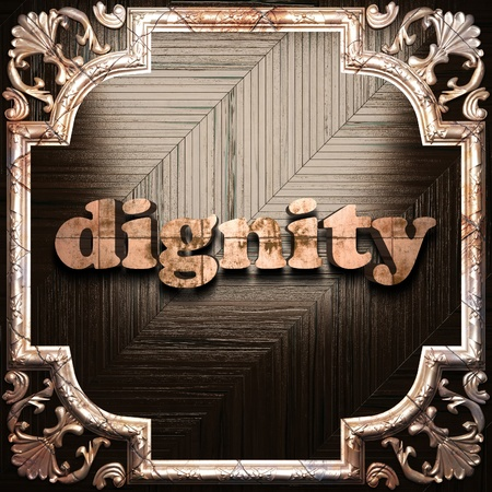 dignity: word with classic ornament made in 3D Stock Photo