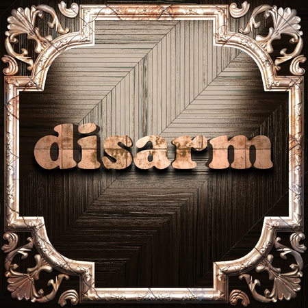 disarm: word with classic ornament made in 3D Stock Photo