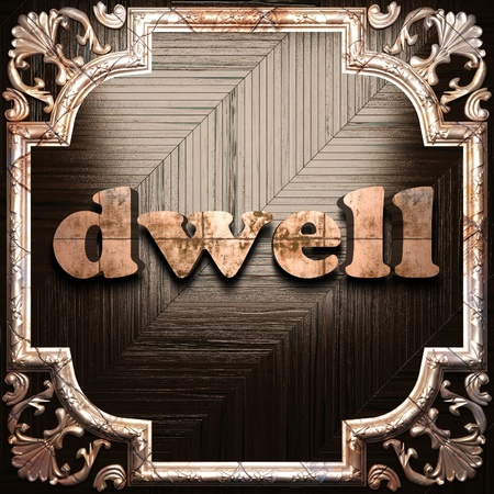 dwell: word with classic ornament made in 3D Stock Photo