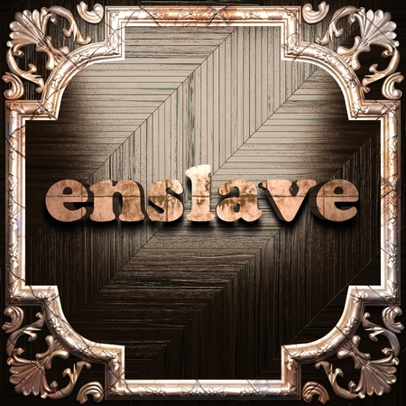 enslave: word with classic ornament made in 3D Stock Photo
