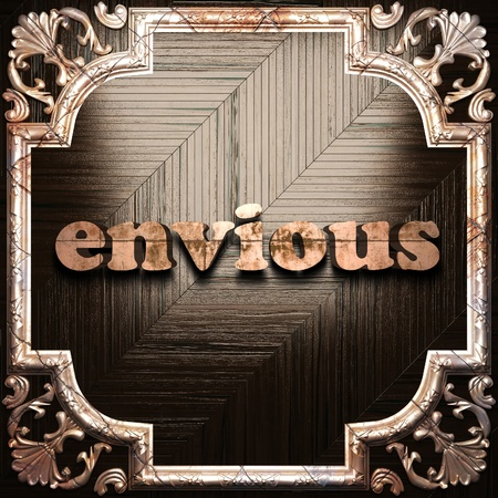 envious: word with classic ornament made in 3D Stock Photo
