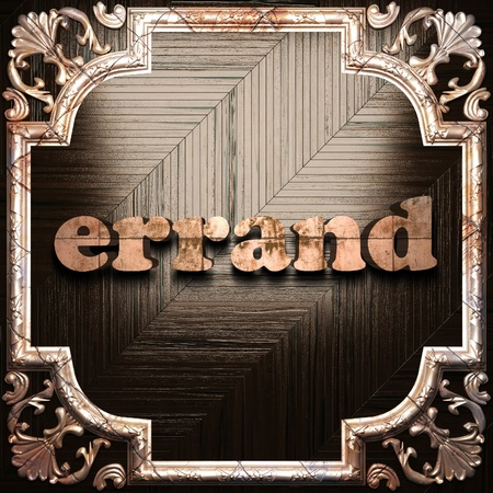 errand: word with classic ornament made in 3D Stock Photo
