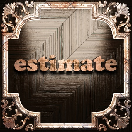 estimate: word with classic ornament made in 3D Stock Photo