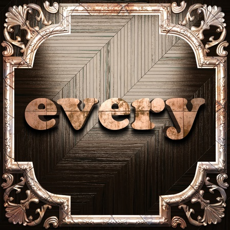 every: word with classic ornament made in 3D Stock Photo