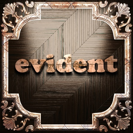 evident: word with classic ornament made in 3D Stock Photo