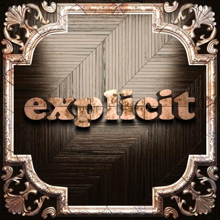 esplicito: parola con ornamento classico realizzato in 3D