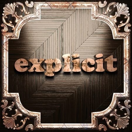 explicit: word with classic ornament made in 3D Stock Photo