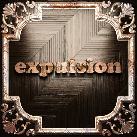 expulsion: word with classic ornament made in 3D Stock Photo