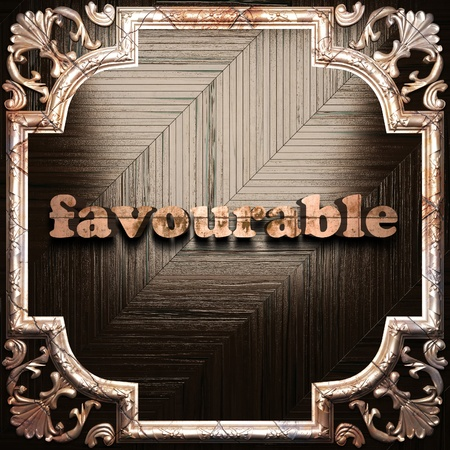 favourable: word with classic ornament made in 3D Stock Photo